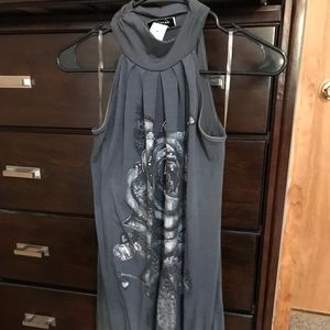 Chesley Dresses - Gray bodycon dress with silver heart design